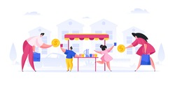 Vector illustration of adult man and woman giving money to little girl and boy selling homemade lemonade on suburban street
