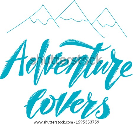 Vector illustration of Adventure Lovers text for logotype, t-shirt, banner, magazine, poster, decoration, postcard. Adventure Lovers calligraphy background. Adventure Lovers lettering. EPS 10.