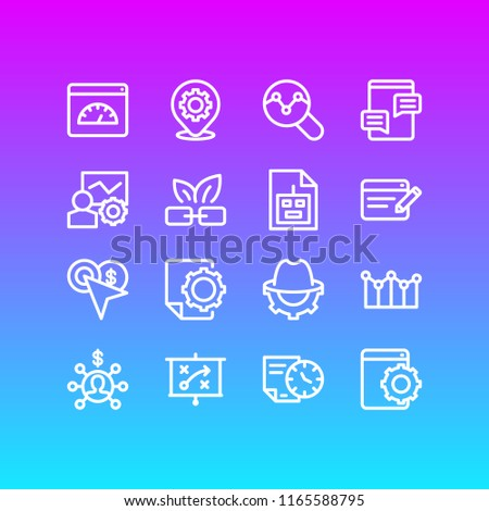 Vector illustration of 16 advertisement icons line style. Editable set of pay per click, adwords campaign, affiliate marketing and other icon elements.