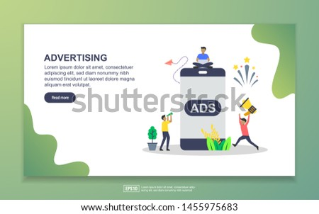Vector illustration of advertising concept with tiny people character. social media marketing, mobile advertisement.Easy to edit and customize