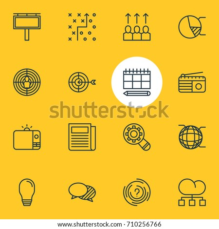Vector Illustration Of 16 Advertising Icons. Editable Pack Of Aiming, Network, Goal And Other Elements.