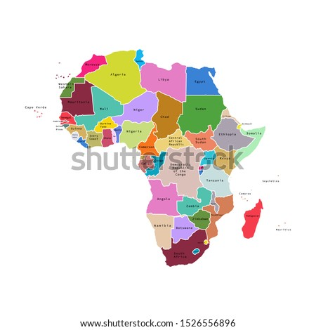 Vector illustration of Africa map with countries. Vector map.