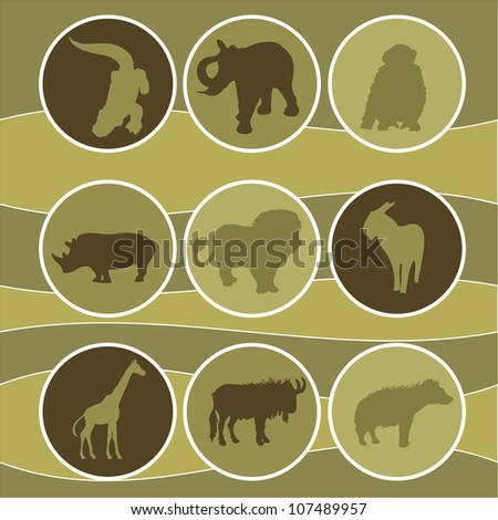 vector illustration of african animals