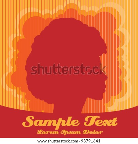 Vector Illustration of Afro Beauty with Retro Background