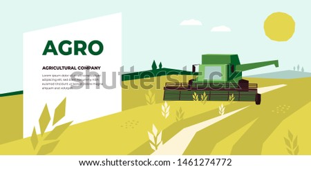Vector illustration of Agriculture with Combine Harvester working in field. Design for Agricultural Company, harvest field,farm land. Template for banner,annual report,prints, flyer,landing page, blog