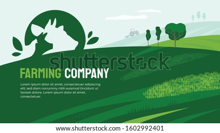 Vector illustration of agriculture with farm animals icon. Design for farming company with agricultural field and tractor. Logo with cow, pig and chicken. Template for banner, print, flyer, layout, ad