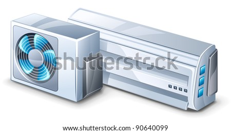 Vector illustration of air conditioner on white background