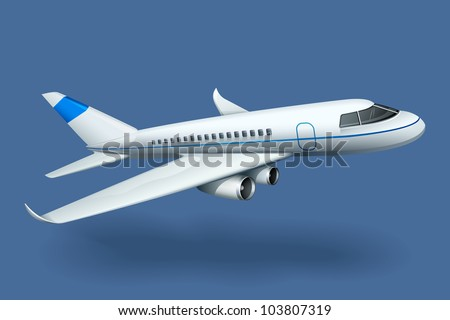 vector illustration of airplane against plain background