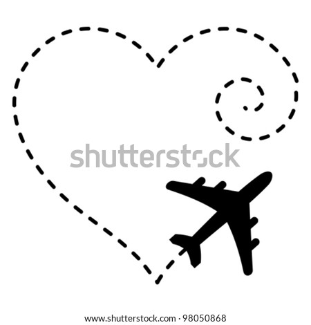 Vector Illustration of Airplane Drawing a Heart Shape in The Sky