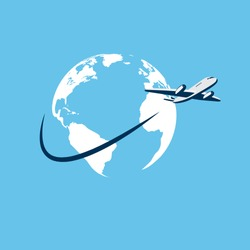 vector illustration of airplane flying around earth map