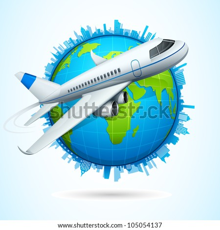 vector illustration of airplane flying around earth with cityscape - stock vector