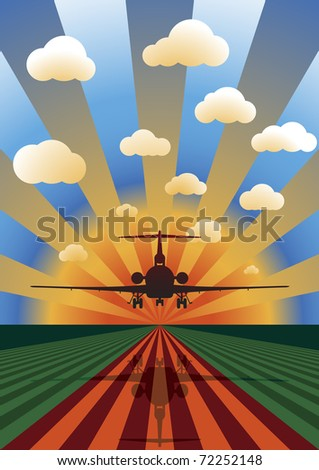 Vector Illustration of Airplane Landing at Sunset