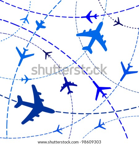 Vector Illustration of Airplane Routes