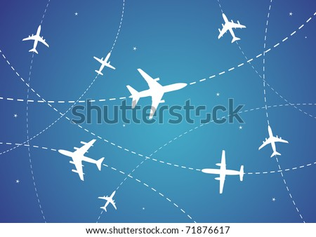 Vector Illustration of Airplane Routes And Stars