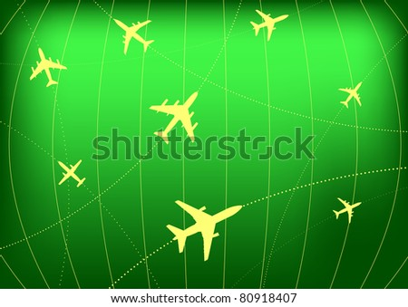 Vector Illustration of Airplane Routes on Radar Screen
