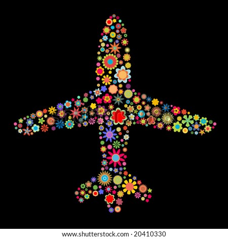 Vector illustration of airplane shape made up a lot of  multicolored small flowers on the black background - stock vector