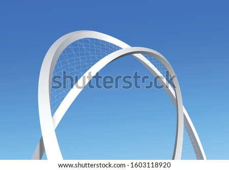 Vector Illustration of Al Wahda Artscape or 5 june arch or blockade arc landmark at the entrance of Lusail city in Doha Qatar taken at Feb 2019 Сток-фото ©