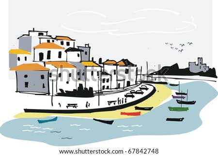 Vector illustration of Algarve fishing village, Portugal.