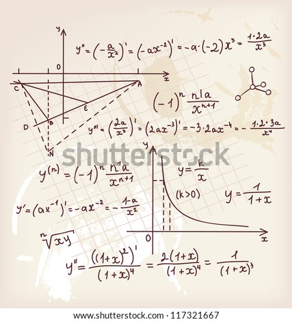 Vector illustration of Algebra doodle background