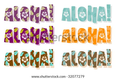 Vector illustration of aloha word in different colors, hand drawn text