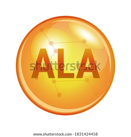 Vector illustration of alpha-linolenic acid ALA found in omega-3 fatty acids found in flaxseed, soybean, and canola oil. Pharmaceutical icon of a capsule. Gold shining pill isolated on white. Foto stock ©