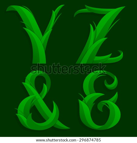 Vector illustration of alphabet caps letters Y, Z and ampersands in the grass design over a dark green background.