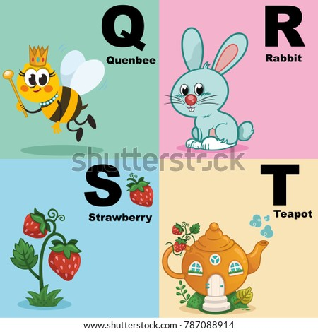 Vector illustration of alphabet kit which include q,r,s,t  Stock fotó ©