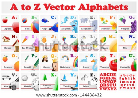 vector illustration of alphabet set with picture