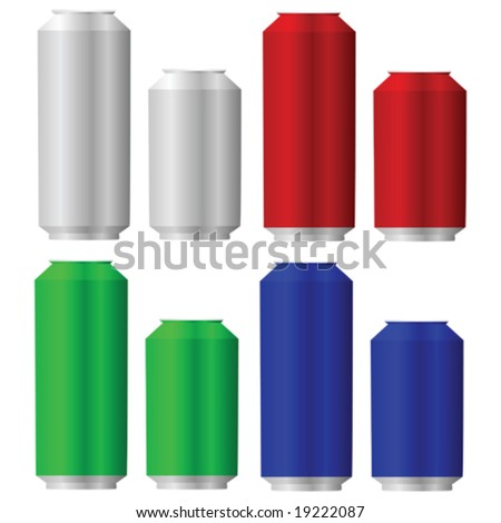 Vector illustration of aluminum cans in different colors