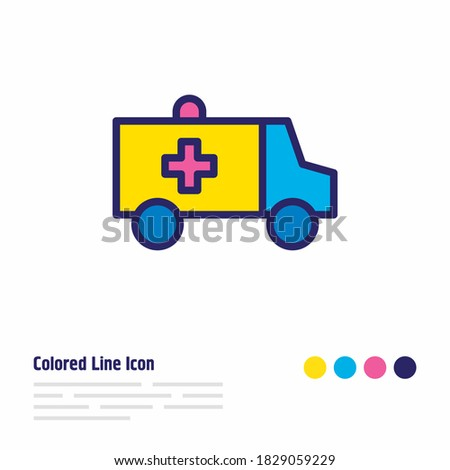 Vector illustration of ambulance icon colored line. Beautiful necessity element also can be used as first aid car icon element. Сток-фото ©