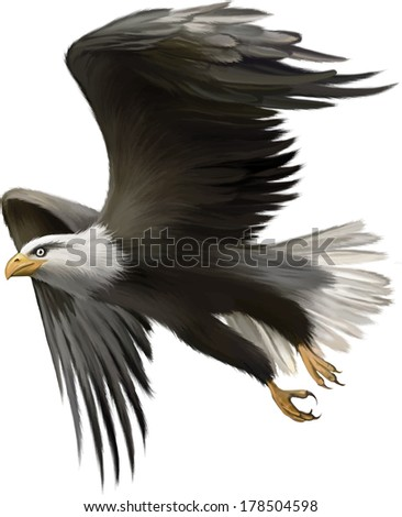 Stock Photo Vector illustration of american bald eagle in flight isolated on white background