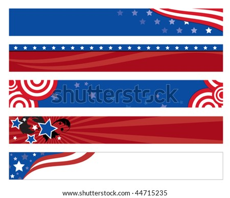 Vector illustration of  5 american flag banners.