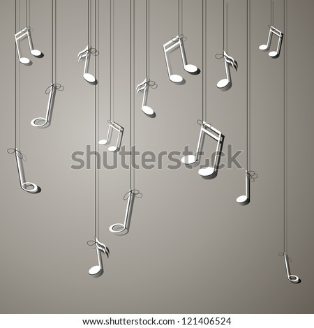 Vector Illustration of an Abstract Background with Notes