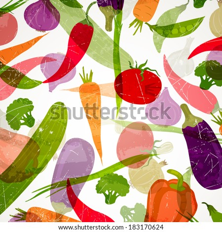 Vector Illustration of an Abstract Background with Vegetables