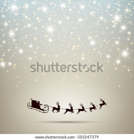 Vector Illustration of an Abstract Christmas Greeting Card with Sparkling Stars and Santa Claus
