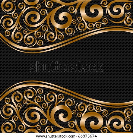 vector illustration of an abstract floral ornament with waves on striped background