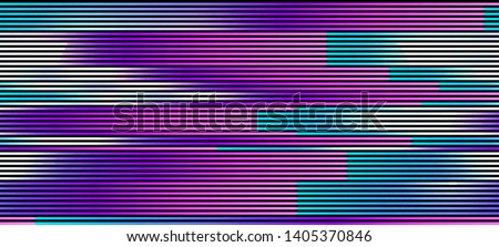 Vector illustration of an abstract glitch background. Cyberpunk concept. Colorful techno backdrop with aesthetics of vaporwave style of 80's.