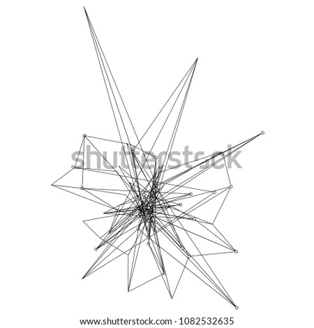 Vector illustration of an abstract plexus structure forming a complex geometric pattern. Network connection between dots and lines