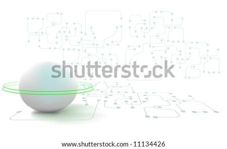 Vector illustration of an abstract technology scene with circuitry in th background and floor. A vibrant white concept.