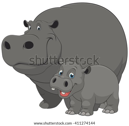 Vector illustration of an adult hippo and baby hippo, on a white background