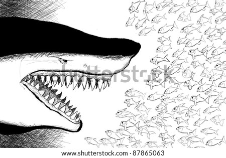 vector illustration of an aggressive shark facing  small fishes