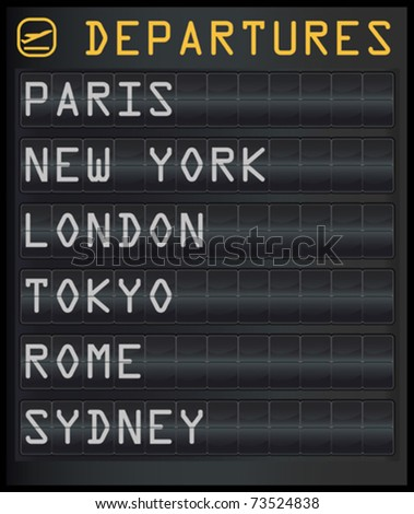 vector illustration of an airplane departure board