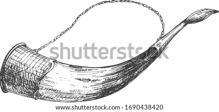 Vector illustration of an alcohol wine drinking horn glass. Hunting mansion wall decoration. Object in a vintage hand drawn style.