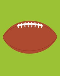 Vector illustration of an American football set against a grass background
