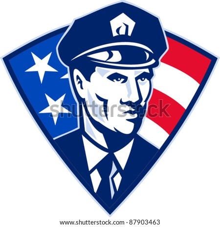 vector illustration of an American policeman police officer security guard with stars and stripes flag set inside shield done in retro style.