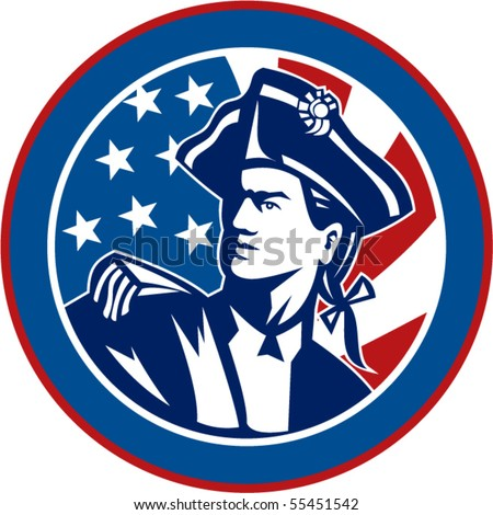 vector   illustration of an American revolutionary soldier with Stars and stripes flag in background set inside a circle