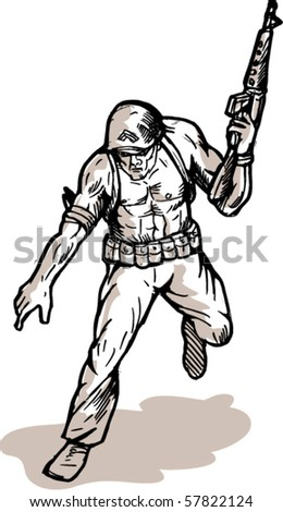 vector illustration of an american soldier with armalite rifle