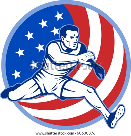 vector  illustration of an American track and field athlete jumping with stars and stripes.