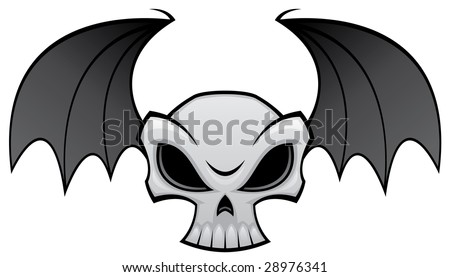skull wings tattoos. clips bat wing tattoos