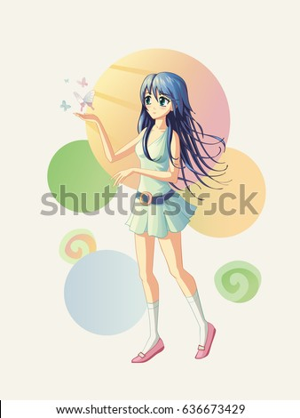 vector illustration of an anime